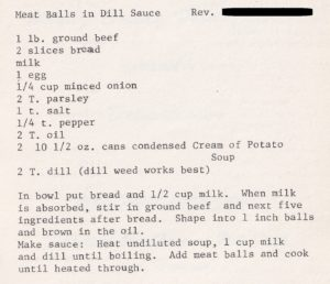 meat balls in dill sauce (tennessee, 1978, adapted)