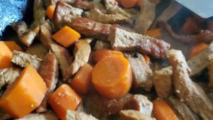 sweet and sour pork with carrots (adapted from a taste of the far east, 1993)